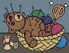 Teddy Bear And Bunny - Pin Cushion by Brett Gilbert