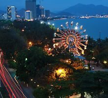 Ferris wheel after dark by MomoYeuSunny