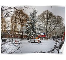 A snowy Playground in Winchester Poster