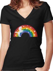 Retro Unicorn and Rainbow Women's Fitted V-Neck T-Shirt