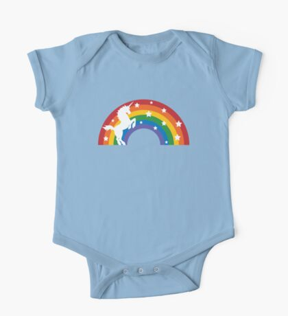 Retro Unicorn and Rainbow One Piece - Short Sleeve