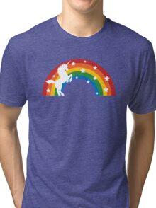 Retro Unicorn and Rainbow Tri-blend T-Shirt