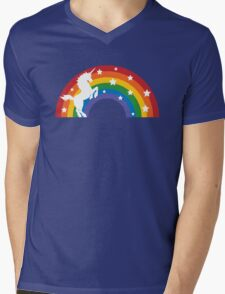 Retro Unicorn and Rainbow Mens V-Neck T-Shirt
