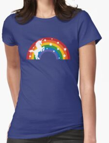 Retro Unicorn and Rainbow Womens Fitted T-Shirt