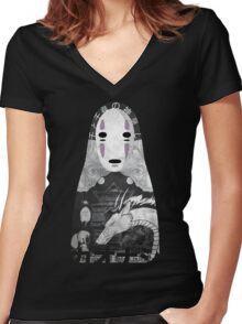 No Face Bathhouse  Women's Fitted V-Neck T-Shirt