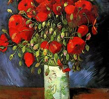 Vase with Red Poppies, Vincent van Gogh. Vintage floral fine art.   by naturematters