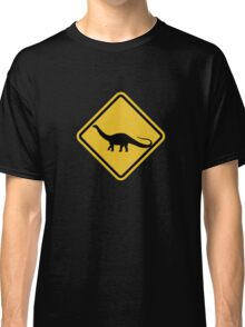 Beware of Apatosaurus Road Sign Classic T-Shirt