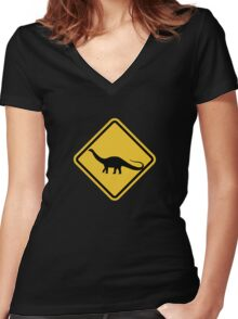 Beware of Apatosaurus Road Sign Women's Fitted V-Neck T-Shirt