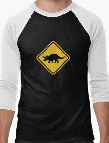 Beware of Triceratops Road Sign Men's Baseball ¾ T-Shirt