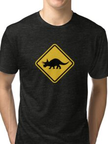 Beware of Triceratops Road Sign Tri-blend T-Shirt