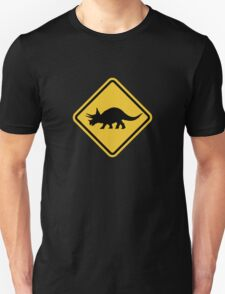 Beware of Triceratops Road Sign T-Shirt