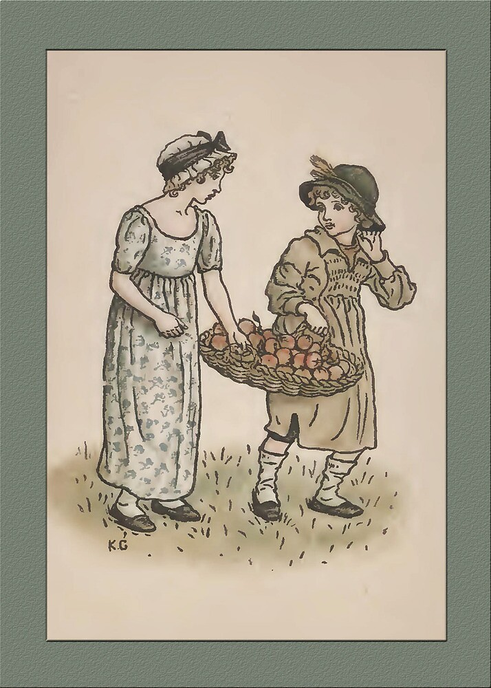 Greetings-Kate Greenaway-Girl/Boy with Apples by Yesteryears