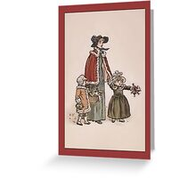 Greetings-Kate Greenaway-Mother with 2 Toddlers Greeting Card