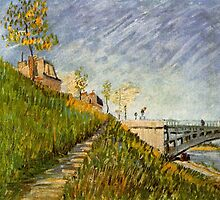Banks of the Seine with Pont de Clichy by Van Gogh.   by naturematters