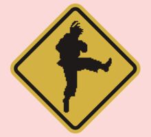 Beware of Ryu Hurricane Kick Road Sign - 8 bit Retro Style Kids Clothes
