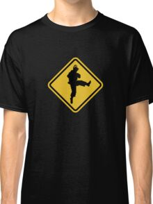 Beware of Ryu Hurricane Kick Road Sign - 8 bit Retro Style Classic T-Shirt