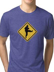 Beware of Ryu Hurricane Kick Road Sign - 8 bit Retro Style Tri-blend T-Shirt
