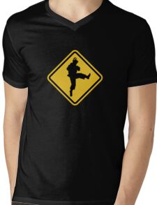 Beware of Ryu Hurricane Kick Road Sign - 8 bit Retro Style Mens V-Neck T-Shirt