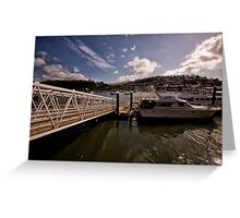 Boat at Jetty in Dartmouth Greeting Card
