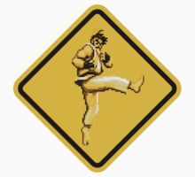 Beware of Ryu Hurricane Kick Road Sign - Second Version Kids Clothes