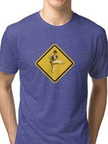 Beware of Ryu Hurricane Kick Road Sign - Second Version Tri-blend T-Shirt
