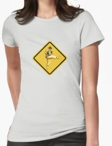 Beware of Ryu Hurricane Kick Road Sign - Second Version Womens Fitted T-Shirt