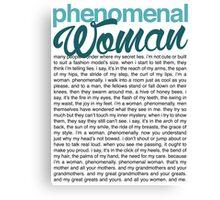 Phenomenal Woman (black font) Canvas Print