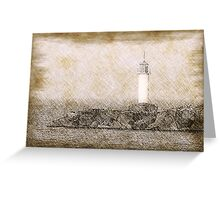 White lighthouse sketch Greeting Card