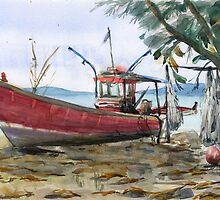 Shabby red boat on the beach by Irina Fominykh