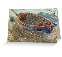 Old shabby boat on sand Greeting Card