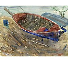 Old shabby boat on sand Photographic Print