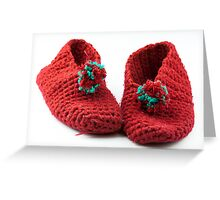 Red knitted slippers Greeting Card