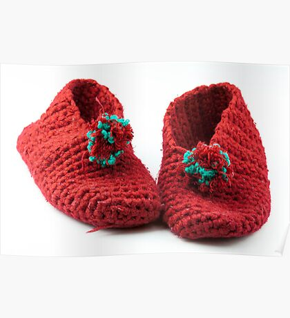 Red knitted slippers Poster