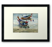 Two boats on the sea Framed Print