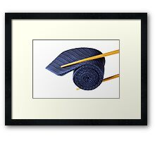 Blue tie and chopsticks Framed Print