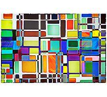 Stained Glass Window Multi-Colored Abstract Photographic Print