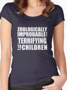 Zoologically Improbable { White Text } Women's Fitted Scoop T-Shirt