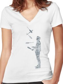 Tshirt - Juggling Typology  Women's Fitted V-Neck T-Shirt