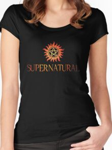 Supernatural logo in RED Women's Fitted Scoop T-Shirt