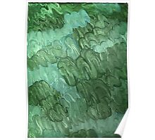 BLUE AND GREEN SQUIGGLES ON CANVAS Poster