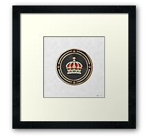 Imperial Tudor Crown over White Leather Framed Print