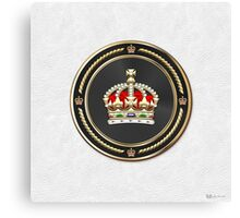 Imperial Tudor Crown over White Leather Canvas Print
