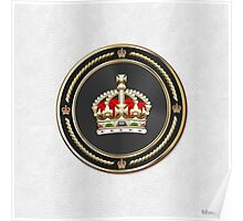 Imperial Tudor Crown over White Leather Poster
