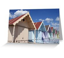 Colourful Beach Huts in Summer Greeting Card