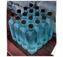 16 blue bottles Poster