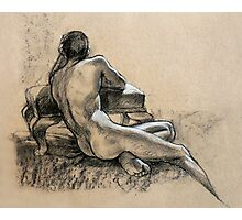 Male Nude, charcoal and pastel drawing Photographic Print