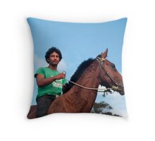 on my horse Throw Pillow