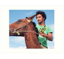 on my horse Art Print