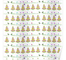 Green yellow pink Chistmas tree Merry Christmas  Poster