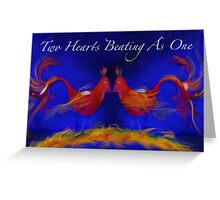 Two Hearts Beating as One - Love Birds (with text) Greeting Card